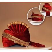 Wedding Wear Maroon Velvet Turban Groom - 72518