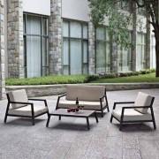 Salon de jardin ITALIA : un ensemble en aluminium laqué noir, pour les petits espaces - déco et design