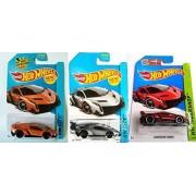 Hot Wheels Lamborghini 3-Car Set: Silver, Orange and Red Veneno by Mattel