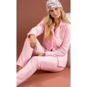 Pijama Feminino Adulto Mixte Longo Aberto em Micro Soft Rosa Bebê