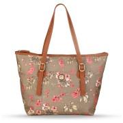 Dámská velká kabelka s květinovým vzorem na rameno Nica šedá