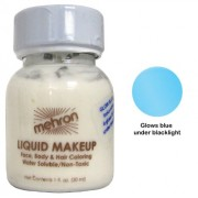 Mehron Liquid Face And Body Painting Makeup (1 Ounce, Fluorescent (Black Light) Blue)