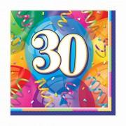 16 volte Tovaglioli felice compleanno numero 30 - bel 30 ° anniversario