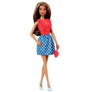 Barbie Fashionistas Doll #5 Red Frilly Blouse With Blue and White Flowers Dress