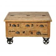 LUMZ Landelijke houten salontafel op wielen