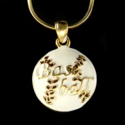 Baseball Softball Ball White Enamel Paint Gold Chain Pendant Necklace