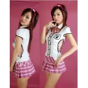 Pink check Kawa~i~i uniform wind dress and lace-up of side (japan import)