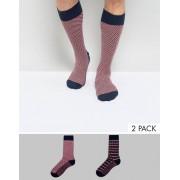 Tommy Hilfiger Tommy Hifliger 2 Pack Socks In Stripe - Multi (Sizes: S, L)