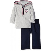 Tommy Hilfiger Baby Hooded Half Zip Top with Pants Set, Gray, 12 Months