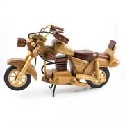 Motocicleta din lemn maro cu bej, macheta