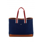 Brouk Co The Natural Shopper Tote Bag NAVY BLUE WITH RED-BLACK-WHITE STRAP