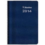 Blueline DuraGlobe 2014 Weekly Planner Twin-Wire Binding English Soft Blue Cover 8 x 5 Inches (C215.22T)