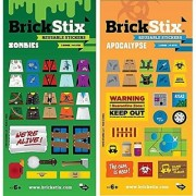 BrickStix Zombies + Apocalypse 2 Pack Reusable Stickers for Your Bricks (Lego Brick Compatible)