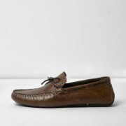 River Island Mens Brown leather driver shoes