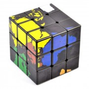 57mm 3x3x3 World Map Magic Rubik's Cube - Black + Multi-Color