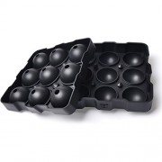 """Premium Quality Ice / Cake Ball Maker , Best Whiskey Ice Mold , 9 Spherical Balls Ice Tray makes 1.8"""" / 4.5cm Sphere , 3 Securing Systems Preventing Leakage - 100% BPA Free , FDA Approved , Silicone"""