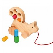 Grimm's Wooden Squirrel Pull Along Multi-Use Toddler Toy with Size-Sorting Blocks