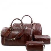 PROMO Ensemble de Voyage Cuir Colomb Marron -Tuscany Leather-
