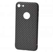 Husa Premium de Carbon NEVOX pentru Apple iPhone 7, logo cut, Black