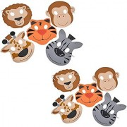 TwiceBooked Foam Zoo Animal Mask Two Pack - Two Packages of 12 Masks - Total 24