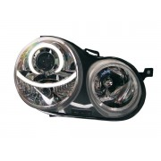 Faruri Angel Eyes pentru masini cu reglaj electronic inclus VW Polo 9N 01-05 crom
