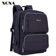 XQXA Large Capacity Backpack Men Business Travel Waterproof 15-17 Inch Laptop Notebook Bag Unisex USB Charge Backpacks Mochila
