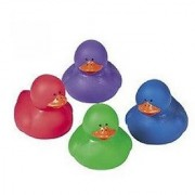 12 pc - Jewel Tone Colored Rubber Ducky Duck Duckies
