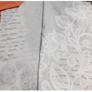 Szürke vászon maradék, virág motívumokkal 4db egyben/017/Cikksz:1231113