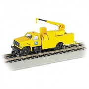 Bachmann Industries Maintenance of Way Hi Rail Equipment Truck with Crane DCC Equipped Conrail Train Yellow HO Scale
