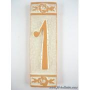 Numero civico ceramica con fiore bianco nfb1
