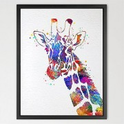 Dignovel Studios 11X14 Giraffe Watercolor print Animal Wall decor Children Boy Girl Kids Baby Room Nursery Interior Decor Bedroom Children's art N421