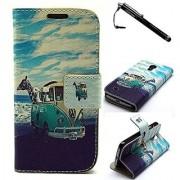 Galaxy S4 mini Case Samsung Galaxy S4 Mini Case Blue Scenery Premium PU Leather Wallet Flip Protective Skin Case with Ma