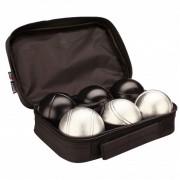 Get Go Комплект от 6 луксозни топки за игра - петанк, сребърен/черен цвят