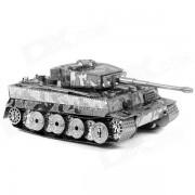 Nuevo Metal 3D Tiger Tank Ensamblados de juguetes educativos para ninos / ninos - plata antigua + Negro