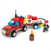 Incendio del vehiculo de rescate Estilo Asamblea plastico Toy Building Blocks - Negro