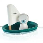 Drewniana żaglówka z misiem polarnym - zabawka z drewna żaglówka do kąpieli, wanny, Plan Toys