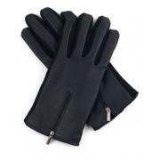 Ciepłe rękawiczki wełniano - skórzane z zamkami