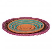 Sierborden Otomi (2-delige set) - zeegras - meerdere kleuren, ars manufacti