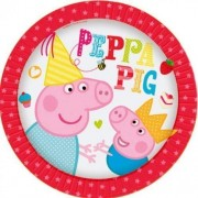 "8 Peppa Pig Party Small Dessert Plates 7"" Red"