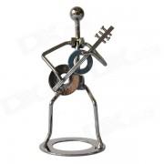 DEDO MG-196 Pure Hand Made Steel Iron Art Statue of Guitar - Black Grey