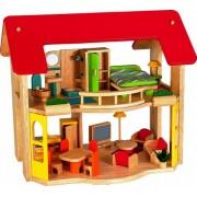 Voila - Casetta in legno a 2 piani con mobili per 1 camera da letto, 1 bagno, 1 soggiorno, 1 cucina, 3+ anni