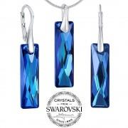 Silvego Silvego stříbrný set šperků se Swarovski(R) Crystals Queen Baguette Bermuda Blue - LSW184S