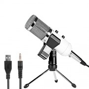 Neewer Professional USB Condenser Microphone with Butterfly Clip,Desktop Tripod Stand,XLR Female to USB and 3.6mm Male Split Cable,Ball-type Windscreen Foam for Recording,Podcast,YouTube Video (White)