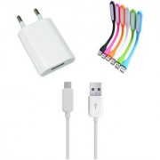 USB Travel Charger and Flexible USB LED Lamp Combo for Karbonn Titanium S5 Ultra