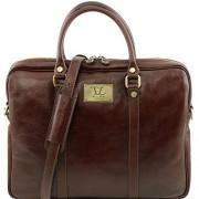 Tuscany Leather - Prato - Elegante porta folios y porta ordenador portátil en piel Marrón - TL141283/1