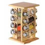 Set 16 condimente sticla cu suport lemn
