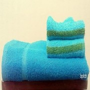 Bp Cotton Blue Towel Sets (28X55 Inch)
