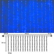 Perdea luminoasa led, Albastru, EXTERIOR, 3 x 2.4 H, DEC6012B