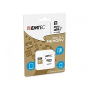 Microsdhc 8go emtec +adapter cl10 gold+ uhs i 85mb/s sous blister compatible Huawei Ascend p8 max