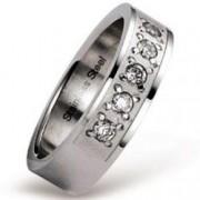 Luxusní ocelový prsten s 5 zirkony